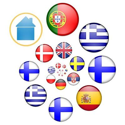Flag logo by Stefan Engel showing the winning countries in reverse chronological order